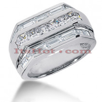 14K Gold Men's Princess & Baguette Diamonds Ring 2.76ct