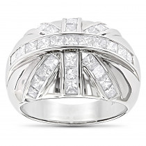 14K Gold Mens Princess Cut Diamond Ring 2.22ct