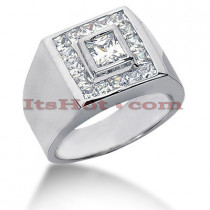 14K Gold Men's Princess Diamonds Ring 1.62ct