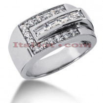 14K Gold Men's Round & Baguette Diamonds Ring 0.90ct