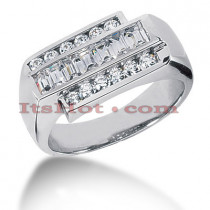 14K Gold Mens Round & Baguette Diamonds Ring 1.25ct