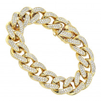 14K Gold Miami Cuban Link Chain Diamond Bracelet for Men 11.05ct