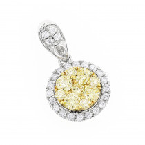 14K Gold Natural Yellow Diamonds Ladies Circle Pendant 1 carat