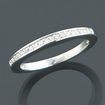 Ultra Thin 14K Gold One Row Round Diamond Band 0.15ct