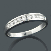 Thin 14K Gold One Row Round Diamond Band 0.55ct