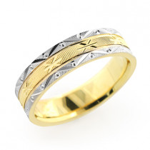 14K Gold Ornate Wedding Band for Men