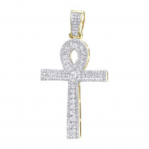 14k Gold Pave Ankh Diamond Cross Pendant for Men Egyptian Symbol of Life