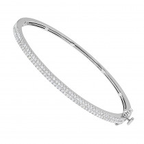 14K Gold Pave Diamond Bangle Bracelet For Women Stackable 0.9ct by LUXURMAN