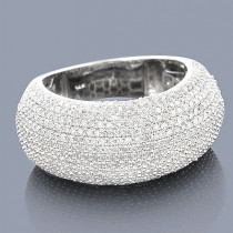 14K Gold Pave Puffed Diamond Ring 2.25ct