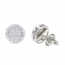 14K Gold Pave Round Diamond Stud Earrings 0.35ct by Luxurman