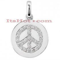 14K Gold Peace Sign Round Diamond Pendant 0.27ct