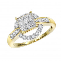 14K Gold Pre-set Diamond Engagement Ring 0.8 ct