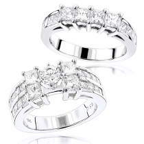 14K Gold Princess and Round Diamond Engagement Ring Set 4.75ct