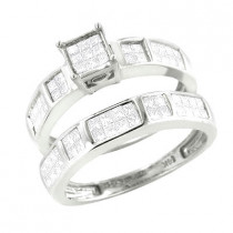 14K Gold Princess Cut Diamond Bridal Ring Set 0.95ct