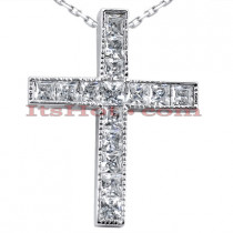 14K Gold Princess Cut Diamond cross necklace 0.7ct