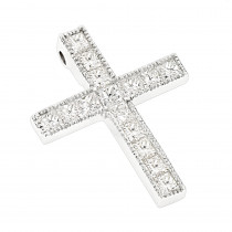 14K Gold Princess Cut Diamond cross necklace 2.55ct