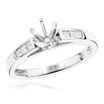 14K Gold Princess Cut Diamond Engagement Ring Mounting 1/4 Carat Six Prong