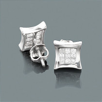 14K Gold Princess Cut Diamond Kite Stud Earrings .33ct