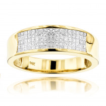 14K Gold Princess Cut Diamond Mens Wedding Ring 1.50ct