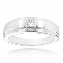 Solitaire 14K Gold Princess Cut Diamond Wedding Band 0.25ct