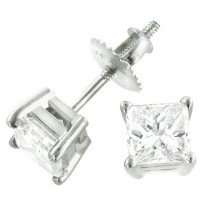 14K Gold Princess Cut Stud Diamond Earrings 0.62ct