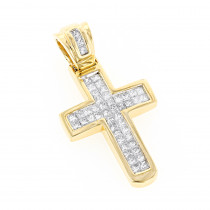 14K Gold Princess Diamond Cross Pendant 0.76ct