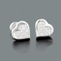 14K Gold Princess Diamond Stud Heart Earrings 0.62ct