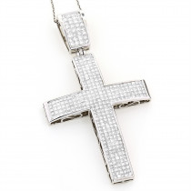 14K Gold Princess Invisible Diamond Cross Pendant 7.53