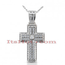 14K Gold Princess & Round Diamond cross necklace 2.24ct