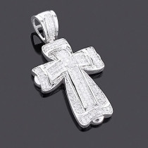 14K Gold Princess & Round Diamond Cross Pendant 2.28ct