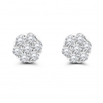 14K Gold Prong Round Diamond Clusters Earrings 1ct Studs