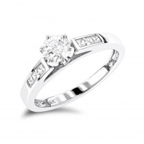14K Gold  Round and Princess Cut Diamond Engagement Ring 0.75ct
