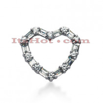 14k Gold Round & Baguette Diamond Heart Pendant 1.20ct