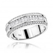 14K Gold Round Baguette Diamond Wedding Band 1.65ct