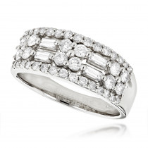 14K Gold Round Baguette Diamond Womens Band 1.09ct
