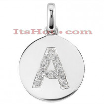 14K Gold Round Diamond Alphabet Pendant 0.26ct