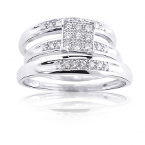 14K Gold Round Diamond Bridal Ring Set 0.60ct