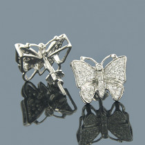 14K Gold Round Diamond Butterfly Earrings 0.50ct