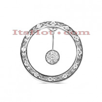 14K Gold Round Diamond Circle Pendant 0.75ct