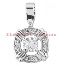 14K Gold Round Diamond Circular Pendant 0.23ct