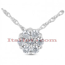 14K Gold Round Diamond Cluster Pendant 0.14ct