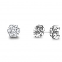 14K Gold Round Diamond Cluster Stud Earrings 0.5