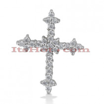 14K Gold Round Diamond cross necklace 0.45ct