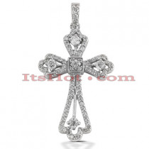 14K Gold Round Diamond cross necklace 0.70ct