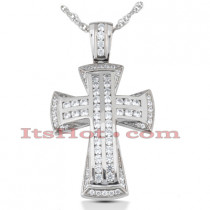 14K Gold Round Diamond cross necklace 1.11ct