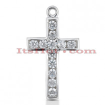 14K Gold Round Diamond cross necklace 1.20ct