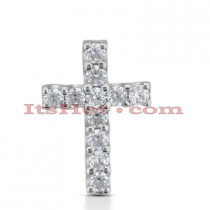 14K Gold Round Diamond cross necklace 1.65ct