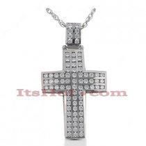 14K Gold Round Diamond cross necklace 1.66ct