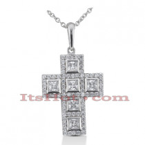 14K Gold Round Diamond cross necklace 1.73ct