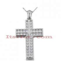 14K Gold Round Diamond cross necklace 1.90ct